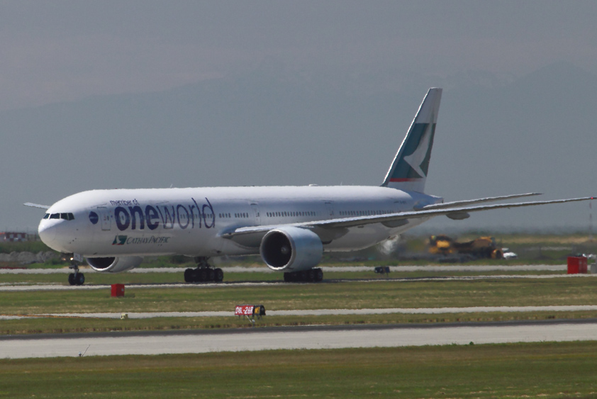 cathay pacific boeing 777-300 er at vancouver international airport