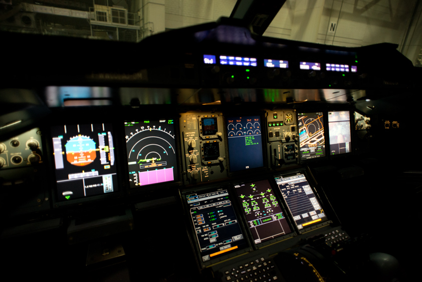 airbus a380-800 cockpit at haeco aircraft maintenance hanger